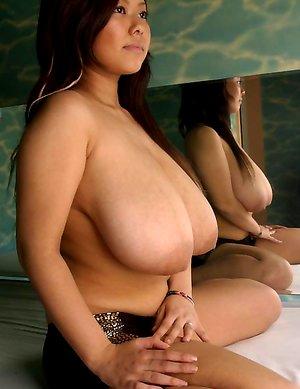 Sexy busty japanese Fuko posing her gigantic tits